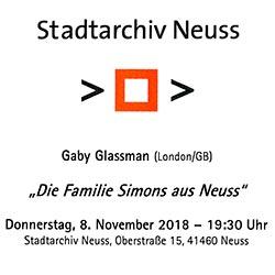 """Vortrag """"Die Familie Simons aus Neuss"""" zum 80sten Jahrestag der Pogromnacht"""